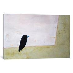 "Mercury Row Crow Window Painting Print on Wrapped Canvas Size: 18"" H x 26"" W x 0.75"" D"