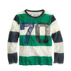 Inspired by old-school rugby uniforms, our designers whipped up this stripe tee. <ul><li>Cotton.</li><li>Long sleeves.</li><li>Machine wash.</li><li>Import.</li></ul>