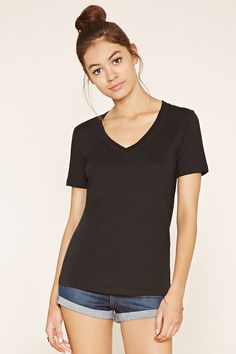 A cotton-blend knit tee featuring a V-neckline and short sleeves.