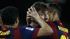 Lionel Messi opened the scoring as Barcelona eased past Almeria.