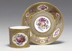 A SEVRES HARD PASTE TAUPE-GROUND CUP AND SAUCER (GOBELET 'LITRON' ET SON SOUCOUPE, 4EME GRANDEUR) | CIRCA 1790, IRON-RED CROWNED INTERLACED L'S MARK AND INSCRIBED NO 2 ON THE CUP, PAINTER'S MARK FOR SINSSON, GILDER'S MARK FOR VINCENT, THE CUP INCISED INA, THE SAUCER INCISED C | Christie's