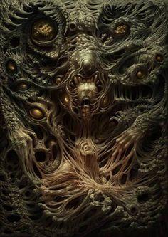 """Swallowed"" by Eric Ridgeway. Dark Fantasy Art, Giger Art, Lovecraftian Horror, Eldritch Horror, Horror Artwork, Dark Artwork, Psy Art, Arte Obscura, Demon Art"