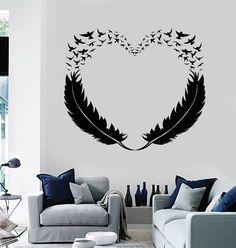 Vinyl Wall Decal Feathers Heart Decor Love Birds Romantic Stickers (299ig)