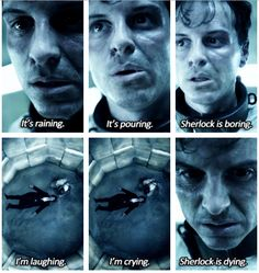 """ya know.,... Moriarty looks pretty sad when he says """"is dying""""...... then again... he looks super distressed when Sherlock decides not to die."""