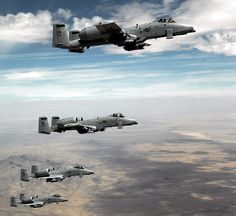 Four A-10 Thunderbolt IIs from the 355th Fighter Wing at Davis-Monthan Air Force Base, Ariz., fly in formation over Arizona