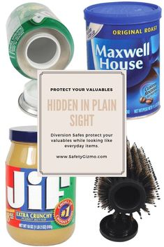 Protect your valuables by hiding them in plain sight. Perfect for at home or while traveling. Wireless Home Security Cameras, Home Security Tips, Wireless Home Security Systems, Jif Peanut Butter, Safes For Sale, Maxwell House Coffee, Diversion Safe, Hidden Safe, Wall Safe