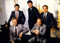 The Cathedrals in the mid-80s. Standing, left to right: Danny Funderburk, Roger Bennett, Mark Trammell. Seated: Glen Payne, George Younce.