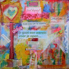 """Collage kunstwerk """"Feel Happy"""" kleurrijk en speels kunstwerk"""