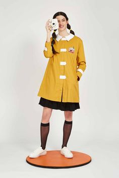 Tab Button Jacket with Patch Mustard