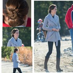 #KateMiddleton and #princeWilliam visit Montana mountain in Carcross on September 28, 2016 in Whitehorse, Canada  Kate's outfit:  Coat: @sentaler  Shoes: @r_s_o_l_e Earrings: @shelley.silversmith  Watch: @shelley.silversmith
