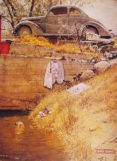 NR: The Swimming Hole, 1945. Tee-hee! (I'd never seen this Rockwell painting before)