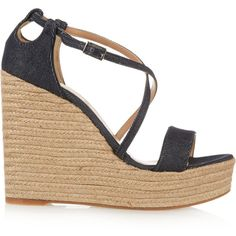Tabitha Simmons - Jenny Denim Espadrille Wedge Sandals ($149) ❤ liked on Polyvore featuring shoes, sandals, dark denim, ankle strap sandals, wedge heel sandals, buckle sandals, denim sandals and ankle strap platform sandals