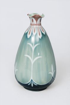 An Art Nouveau vase with floral decoration  Rosenthal, beg. of 20th cent. Drop-shaped body with short neck and blossom-shaped upper rim. Sign. Kriesch. Marked. H. 20. cm.