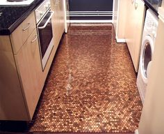 Squirrelly Minds // Copper penny floor from Design Trawler