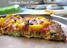 This unique low carb zucchini crust pizza has a quiche-like crust, and it is gluten-free too! Even with simple toppings (e. bell pepper, olive), it is still delicious and is a great cho… Gf Recipes, Pizza Recipes, Low Carb Recipes, Free Recipes, Crust Pizza, Low Carb Diet, Clean Eating Recipes, Zucchini, Mozzarella