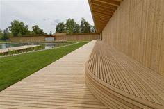 herzog & de meuron creates natural bathing pond for naturbad riehen Temporary Architecture, Space Architecture, Amazing Architecture, House Landscape, Urban Landscape, Landscape Design, Architectural Materials, Dream House Exterior, Urban Design