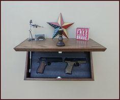 "23"" Oak Tactical Wall Shelf With Drop Down Hidden  Secret Compartment For Hand Guns,Jewelry,Valuables,Etc.."