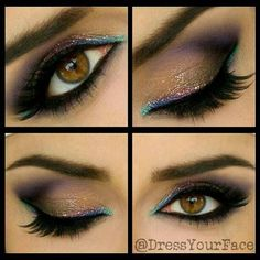 gold and aqua eye makeup