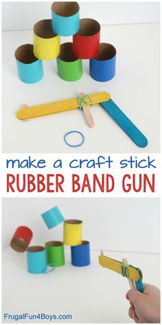 Make a Craft Stick Rubber Band Gun – Frugal Fun For Boys and Girls - Travel Terminal 2020 Craft Stick Projects, Popsicle Stick Crafts For Kids, Crafts For Boys, Popsicle Sticks, Craft Stick Crafts, Fun Projects, Diy For Kids, Craft Sticks, Fun Toys For Kids