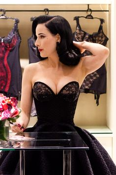Dita Von Teese in Zac Posen skirt and Von Follies bra