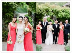 coral bridesmaid dresses next to black and white tuxes don't look too bad coral Amsale bridesmaid dresses