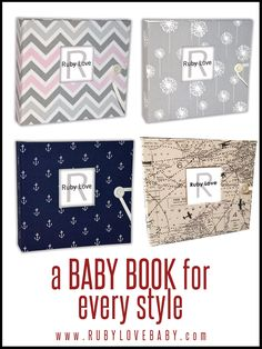 Cherish your baby's first year with a handmade Ruby Love baby memory book! We have baby books for every style