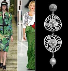 Greenery trend color of the Spring Summer 2017 fashion show. Here combined with Aurea R earrings by Konk. See more details at http://www.konk.it/prodotto/orecchini-pendenti-aurea-r/