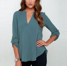 YUOCL New Blusas Sexy Women V-neck Chiffon Blouse Casual Long Sleeve Solid Shirts Tops Plus Size feminina camisas Chiffon Shirt, Chiffon Tops, Chiffon Dress, Chiffon Fabric, Top Mode, Shirt Bluse, Tunic Shirt, Shirt Dress, Loose Shirts