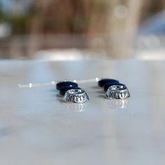 Handmade hematite earrings silver earrings by KarmaKittyJewelry