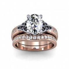 9e5cb9570 4.14ct. natural diamond oval cut celtic knot design pave natural diamonds  engagement ring 14k rose gold gia