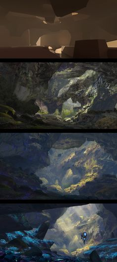 "Thomas Stoop : ""At the bottom of the cave systems, the temperatures and climate is similar to that on Earth. A suitable replacement for Earth has been found."" One of the pieces I made for my graduation project. Will post mor Digital Painting Tutorials, Digital Art Tutorial, Art Tutorials, Landscape Concept, Fantasy Landscape, Environment Concept Art, Environment Design, Painting Process, Process Art"