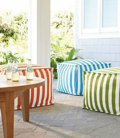 Our eye-catching, oversized pouf is a playful and portable way to add extra seating by the pool or on the deck.