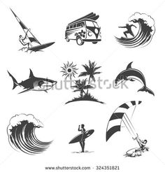 Surfing icons set. Sport surf sea, beach and travel, surfer sign, vector illustration