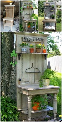 Shed DIY - My Shed Plans - This is beautiful made from an old door and table - Now You Can Build ANY Shed In A Weekend Even If Youve Zero Woodworking Experience! Now You Can Build ANY Shed In A Weekend Even If You've Zero Woodworking Experience! Recycled Door, Repurposed Doors, Repurposed Furniture, Furniture Ideas, Garden Furniture, Recycled Windows, Outdoor Furniture, Refurbished Door, Recycled Garden Art