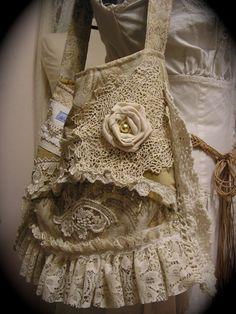 Shabby Vintage Purse handmade Victorian bag crocheted doily