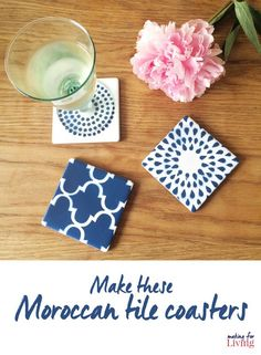 moroccan tile coasters. DIY these moroccan tile coasters to get a hand painted arabesque look
