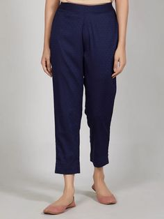 Buy Navy Blue Cotton Pants online at Theloom Cuffed Pants, Cotton Pants, Palazzo, Printed Cotton, Loom, Capri Pants, Navy Blue, Clothes, Collection