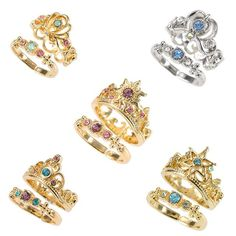 Disney princess rings Disney Store Japan #disney #rapunzel #cinderella #jasmine #elsa #ariel #thelittlemermaid #littlemermaid