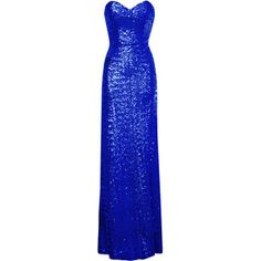 Blue Sequin Sweetheart Neckline Maxi Dress