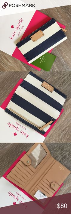 KATE SPADE STACY WELLESLEY NAVY STRIPPED WALLET. 100% Authentic Kate Spade Stacy Wellesley wallet. Printed cream and navy stripe with tan interior. 4 bill slots 12  credit cards outside  zippered coin purse snap closure. 6.5 L x 3.5 H x 1' D No trades or PP, smoke free home. Free Kate Spade bow earrings with your purchase of this beautiful wallet. Please visit my bestie's closet: @molinda25 for more Kate Spade and other fabulous treasures! Kate Spade Bags Wallets