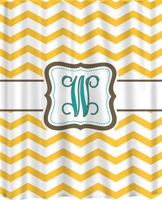 Personalized Chevron Shower Curtain  Shown in Yellow by redbeauty, $78.00