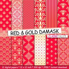 Damask digital paper RED & GOLD DAMASK with gold and by ClaireTALE