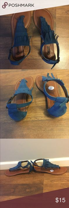 NWOT tassel sandals NWOT teal tassel sandals with a tiny wedge heel Carlos Shoes Sandals