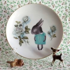 Vintage Shy Bunny Floral Plate by thestorybookrabbit over at Etsy.  (I think it's a shy donkey, but cute nonetheless)