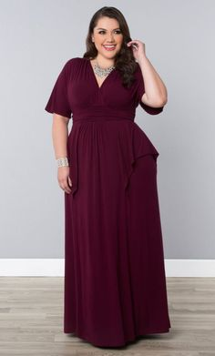 Indie Flair Maxi Dress, Raspberry Wine (Women's Plus Size) From the Plus Size Fashion Community at www.VintageandCurvy.com