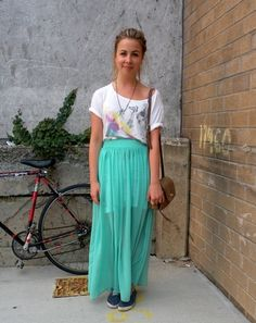college fashionista post about how to make a sheer mint maxi skirt work for your internship!