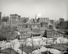 """New York circa 1903. """"City Hall."""" Note the building going up at left and construction at right. 8x10 glass negative, Detroit Publishing Co."""