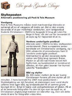 Landpostbud Guderik Christiansen på de stylter, han benyttede i 1920'erne til at forcere vandet mellem Bogø og Farø. International presse berettede om den usædvanlige metode.