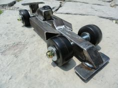 Recycled steel and upcycled wheels come together to create a fun racecar
