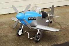 """P-51 Mustang Jr. Pedal Airplane, blueprints and assembly plans. Choice of simple plywood and rib & spar fabric covered wings. Larger 14"""" w..."""